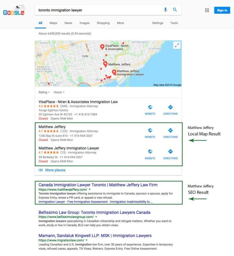 Rank for the keyword variation Toronto immigration lawyer