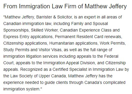 from immigration law firm of matthew jeffery