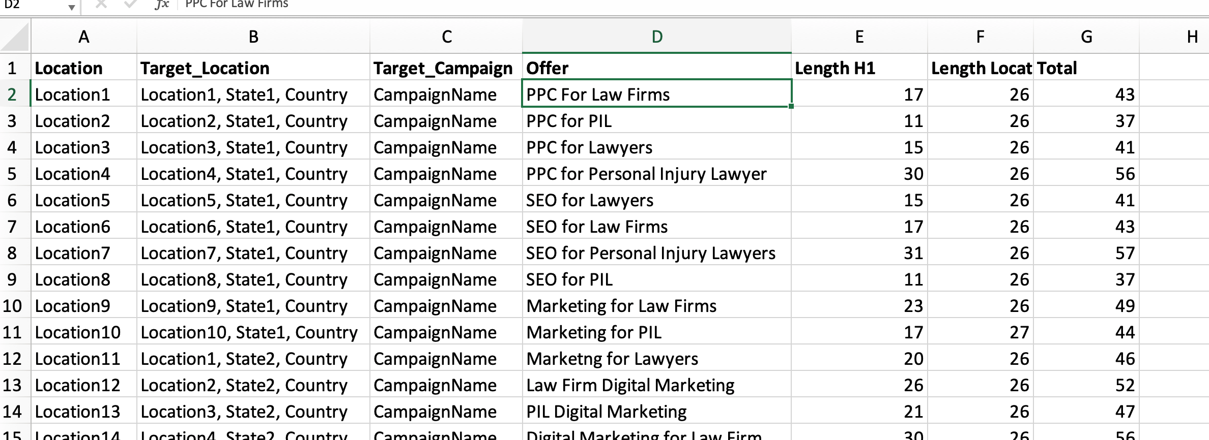 Sample geo ad customization excel sheet