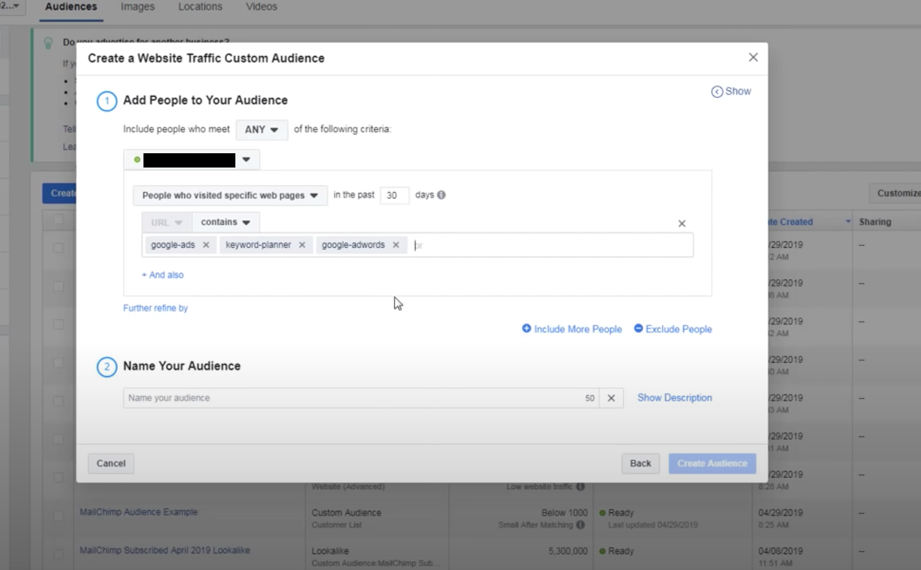 Facebook Ads remarketing page