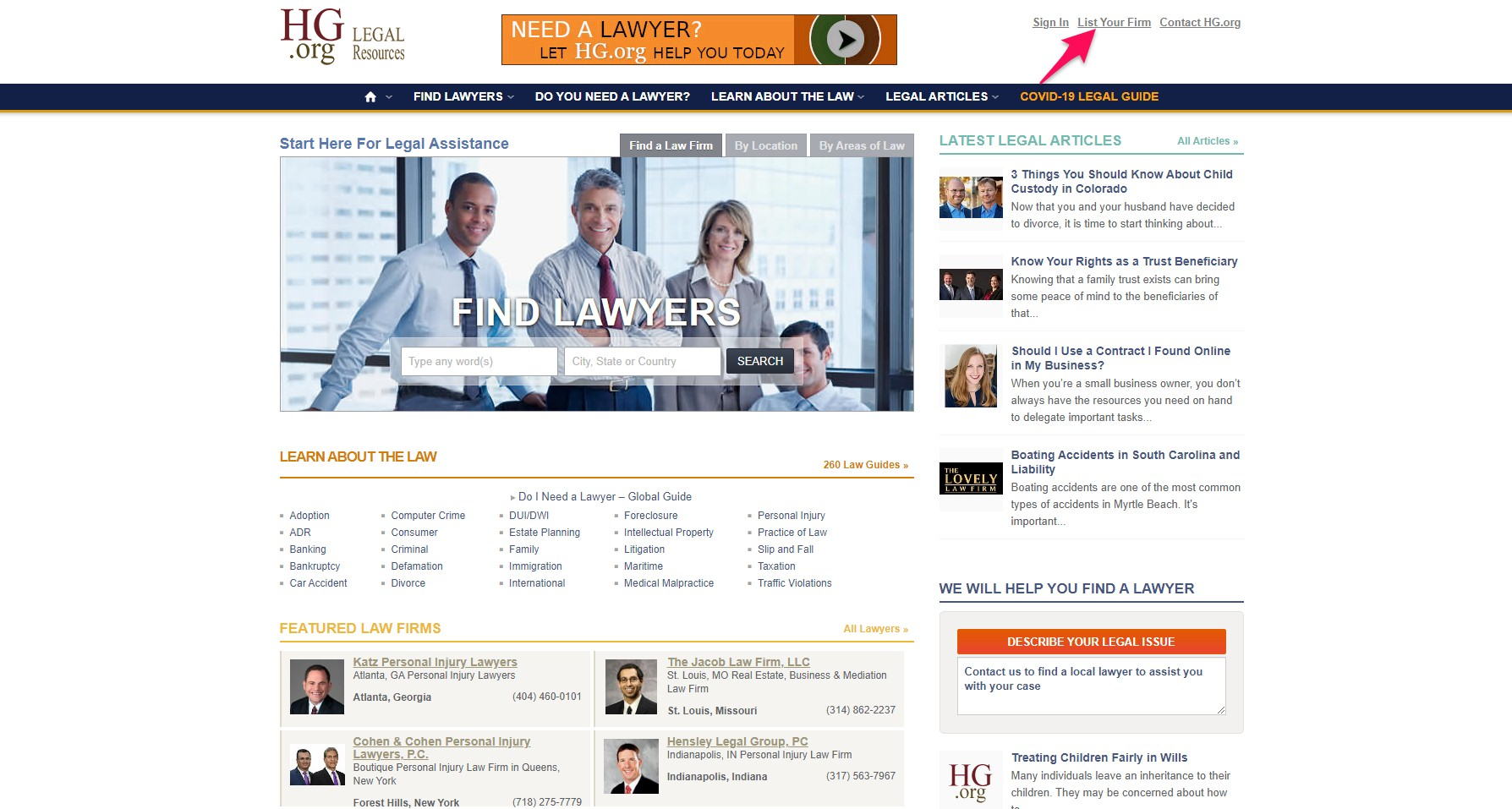 HG is a legal directory that attorneys can use to create a profile