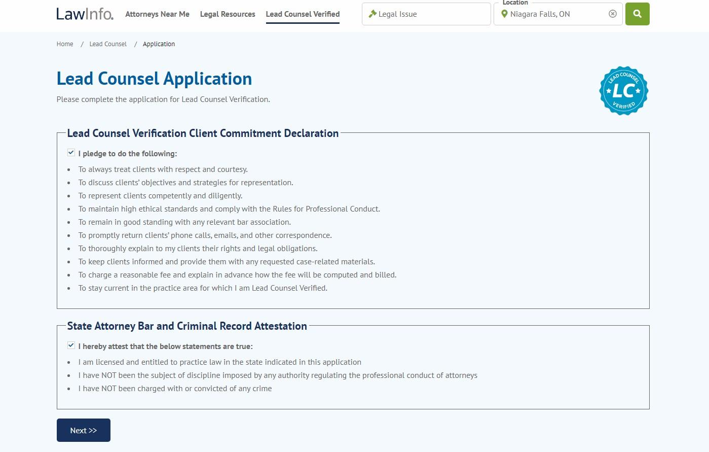 Lead Counsel Verification program
