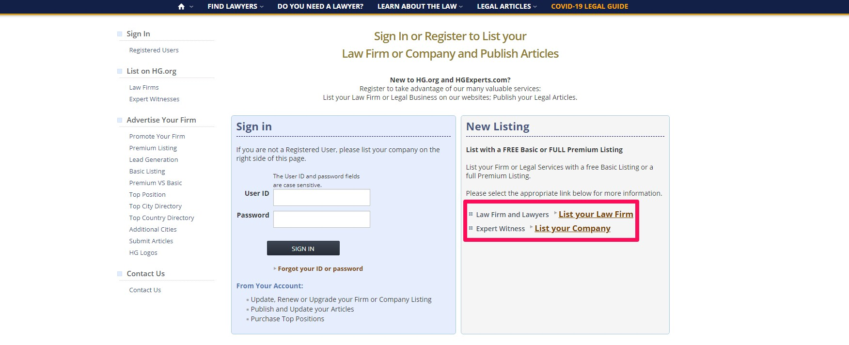 """Unless you already have an HG account, select """"List Your Law Firm"""" on the right panel."""