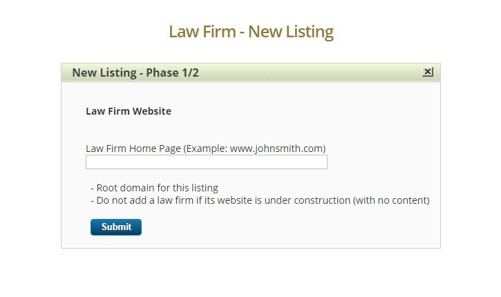 Enter the URL of your law firm on the next page.