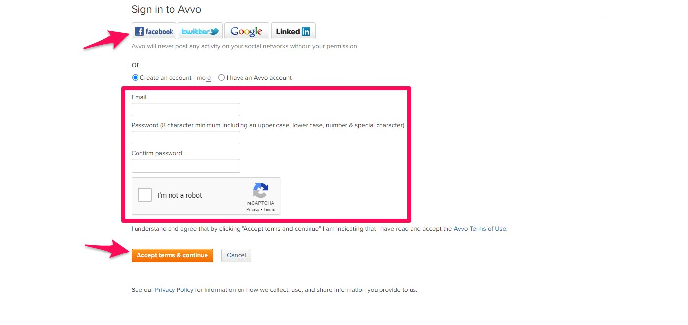 Create an account at the bottom of the page via the social media icons or email after completing the form.