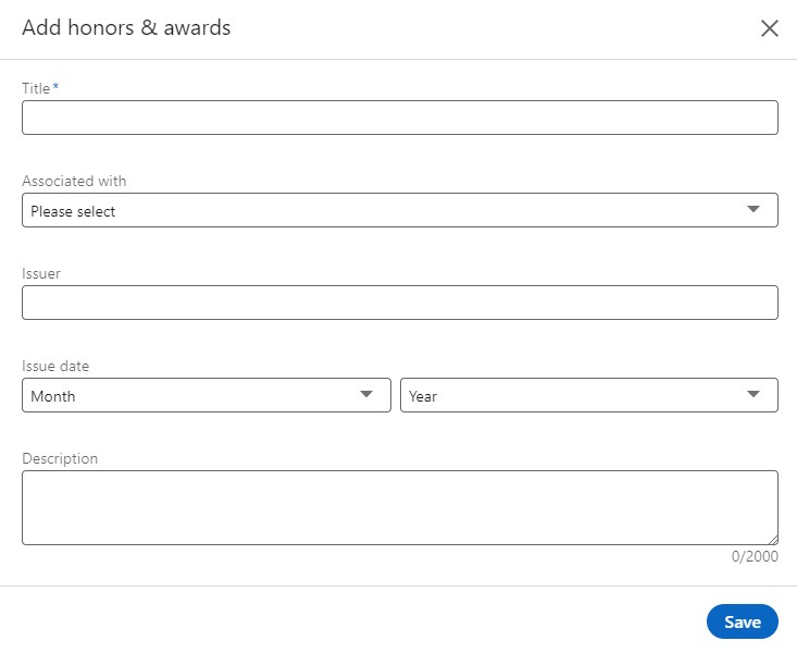 Add honor awards linkedin