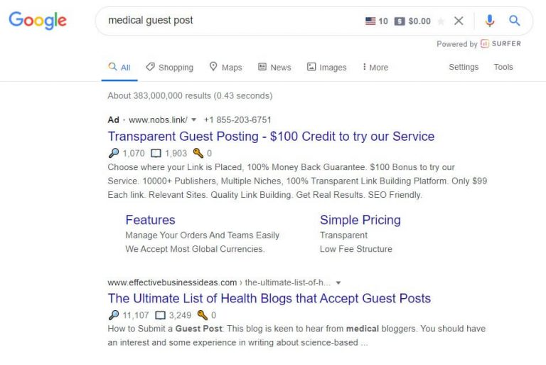 begin finding guest post opportunities by visiting Google
