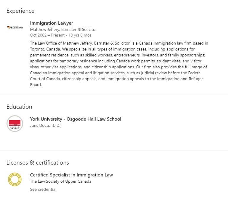 lawyer profile linkedin