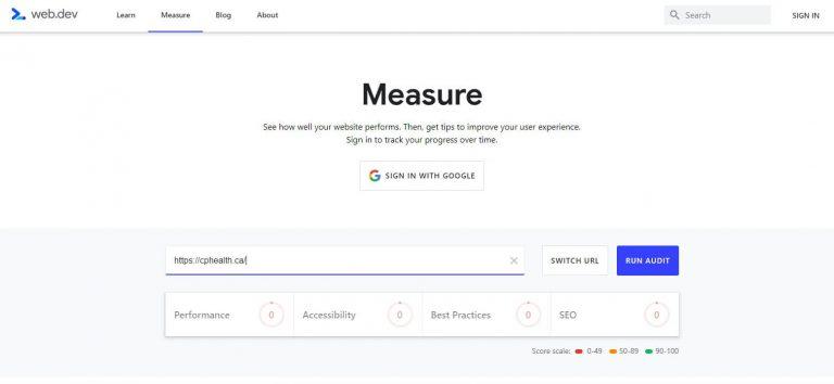 Run Audit page speed web.dev