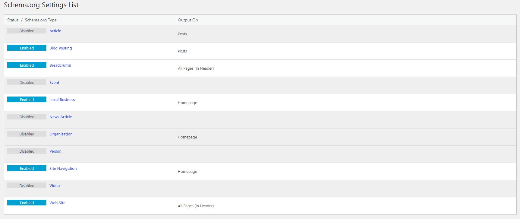 Schema settings list