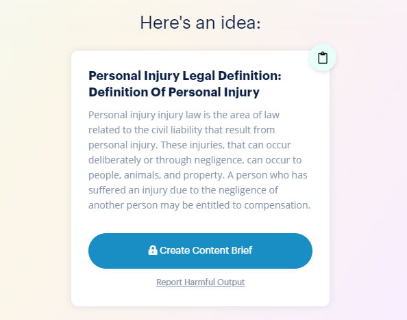 Personal injury legal definition