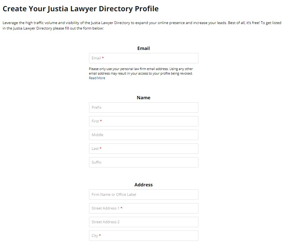 create your justia lawyer directory profile