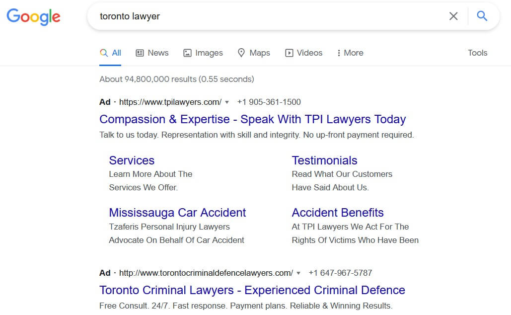organic search results toronto lawyer