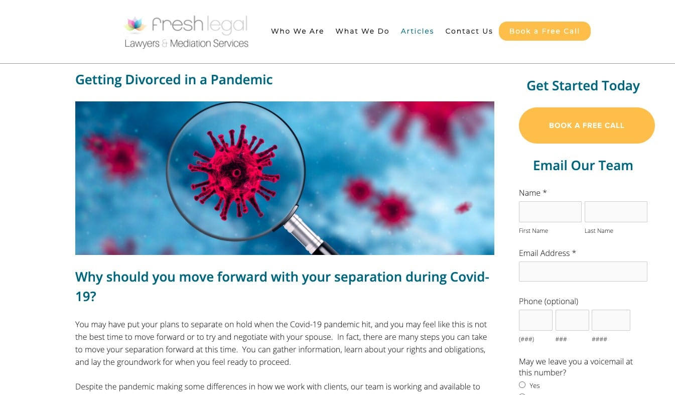 Getting divorced in a pandemic